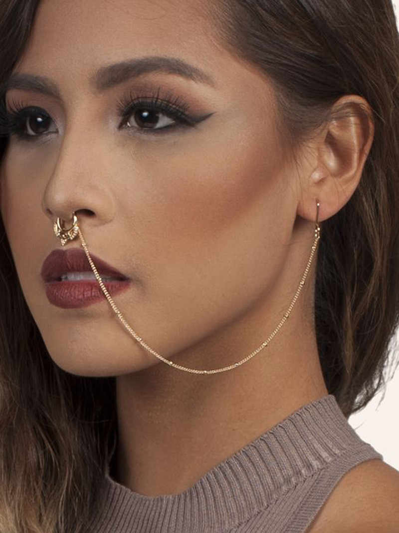 1 Pc Fashion Nose Rings Chain Fake Nose Piercing Summer Style U Nose Hoop Fake Nose Rings And Studs Ear Chain Women Body Jewelry