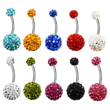 1PCS Crystal Surgical Steel Real Belly Piercing Rhinestone Woman Navel Belly Button Ring Piercing Navel Ringen