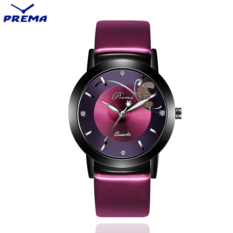 PREMA Women Watches 2018 Ladies Watch Fashion bracelet clock purple Leather wristwatch Feminino Quartz Wrist Watch Butterfly duoya fashion luxury women gold watches casual bracelet wristwatch fabric rhinestone strap quartz ladies wrist watch clock