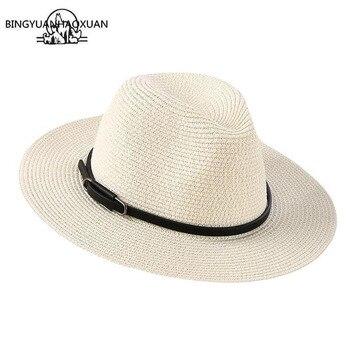 цена на BINGYUANHAOXUAN Brand 2018 Ladies Sun Hat Fashion Casual Women Straw Summer Beach Hat Wholesale Hats Stylish Cap