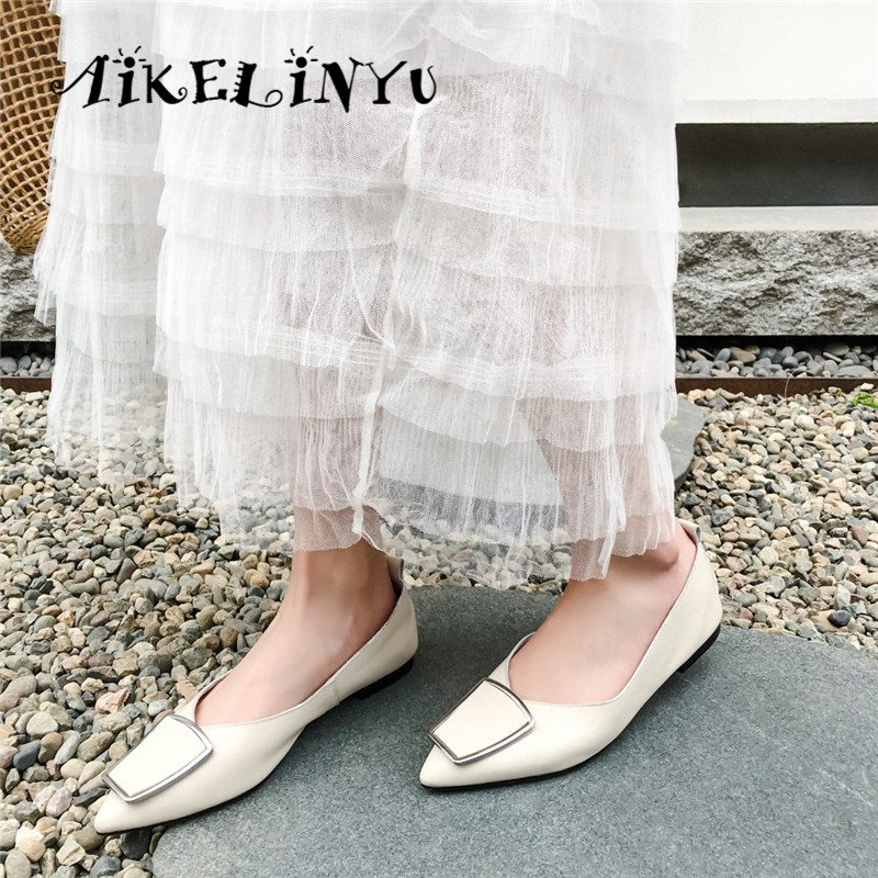 AIKELINYU 2019 Comfortable Women Flats Cowhide Pointed Toe Casual Shoes Metal Decoration Black Slip on Soft Office Lady Flats in Women 39 s Flats from Shoes