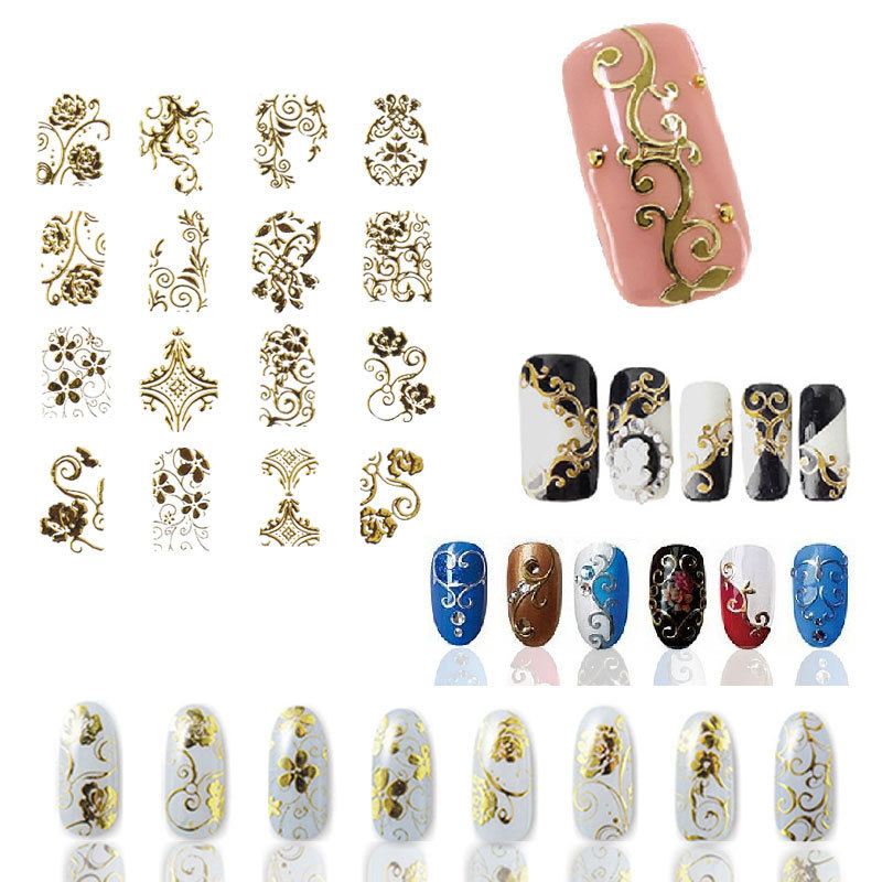 Hot Gold 3D Nail Art Stickers Decals,108pcs/sheet Top Quality Metallic Flowers Mixed Designs Nail Tips Accessory Decoration Tool 1set gold 3d nail art stickers decals metallic flowers designs stickers for nails art decoration tips salon accessory nail tools