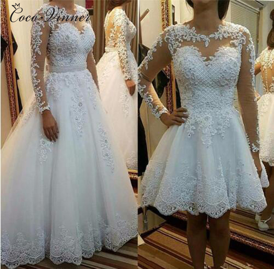 Beautiful Pearls Beading 2 IN 1 A Line Wedding Dress 2019 Detachable Skirt Long Sleeve Illusion Lace Wedding Dresses W0278-B