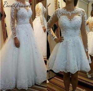 Image 1 - Belas pérolas beading 2 em 1 uma linha vestido de casamento 2020 saia destacável manga longa ilusão rendas vestidos de casamento W0278 B
