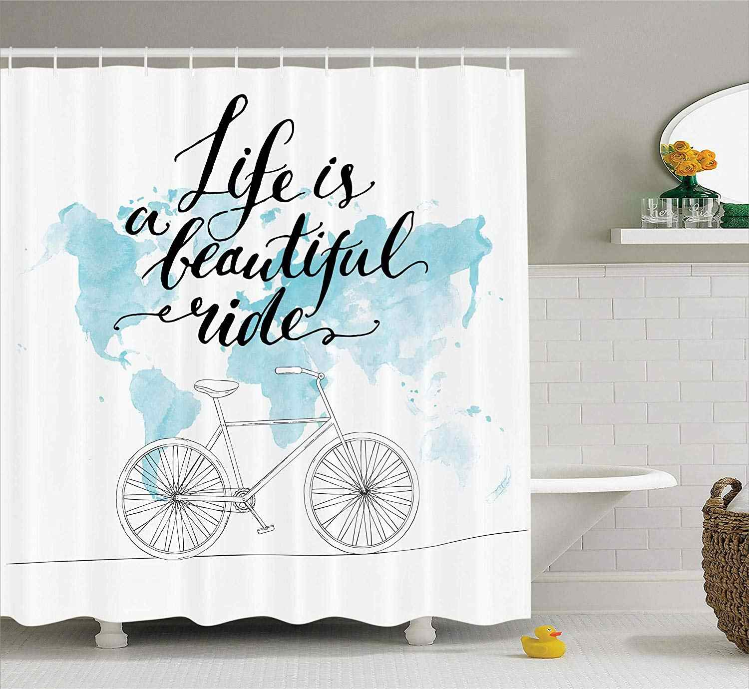 Bicycle Decor Collection Inspirational Cycling Picture With World Map Polyester Fabric Bathroom Shower Curtain Set With Hooks