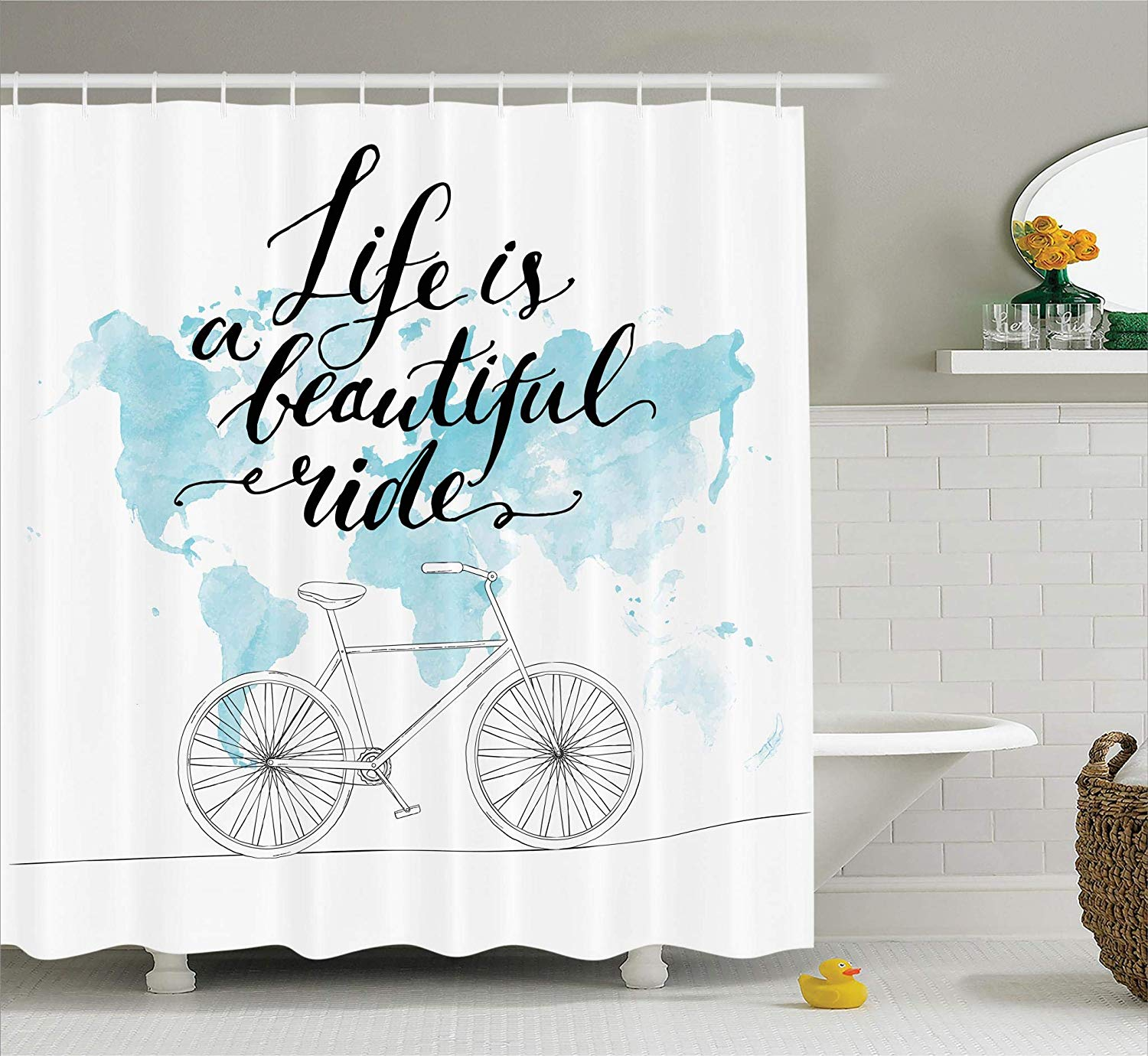 US $12.8 30% OFF|Bicycle Decor Collection Inspirational Cycling Picture  with World Map Polyester Fabric Bathroom Shower Curtain Set with Hooks-in  ...