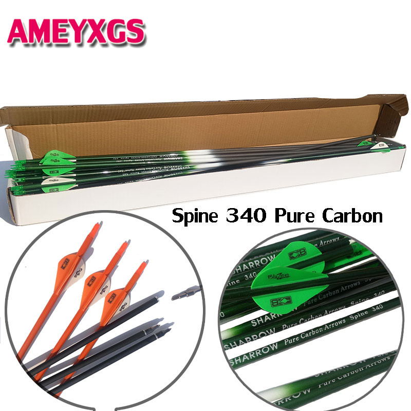 6/12Pcs 30inch Arrow Pure Carbon Plastic Feathers Spine 340 Replaceable Broadheads For Outdoor Practice Shooting Accessories