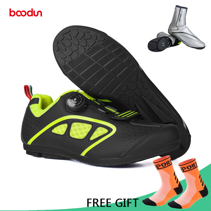 Boodun Ultralight Rubber Sole Non Lock MTB Cycling Shoes Breathable Non-Slip Road Bike Bicycle Shoes Athletic Racing Sneakers france tigergrip waterproof work safety shoes woman and man soft sole rubber kitchen sea food shop non slip chef shoes cover