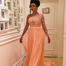 Custom Made One Shoulder Prom font b Dresses b font With sleeve Lace Appliques Beads Long