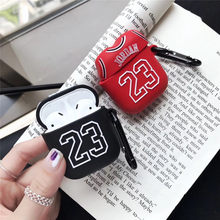 Chicago Bull 23 Jordan Soft Silicone Case for Apple Airpods Bluetooth Earphone Cover 3D Skin Headset Protector For Air pod(China)