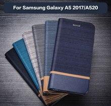Кожаный чехол для телефона Samsung Galaxy A5 2017, чехол книжка для Samsung Galaxy A3 2017, деловой чехол, Мягкая силиконовая задняя крышка