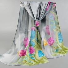 Jzhifiyer chiffon scarf print womens silk polyester foulard scarfs shawl fashion silkly scarves feminino inverno
