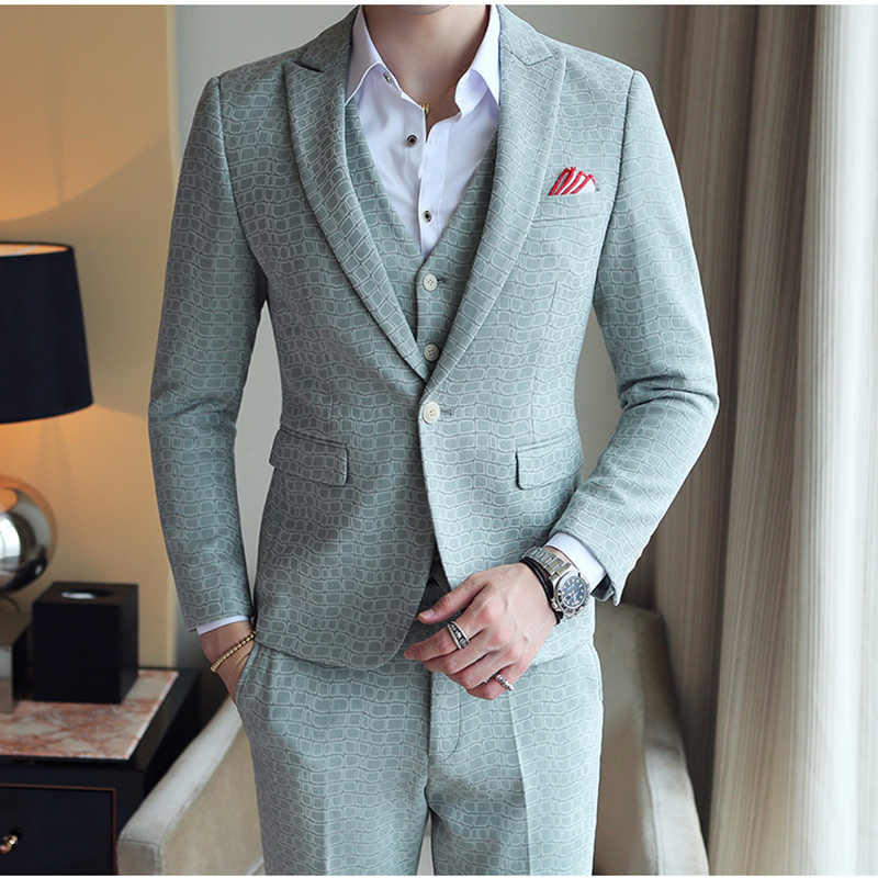 ce77bf66e37 Gray Khaki Green Plaid Suit Men 2019 Spring Autumn High Quality Groom  Wedding Suit Slim Fit
