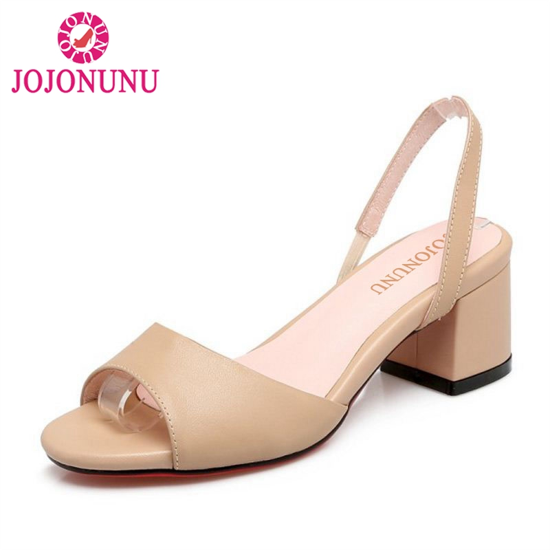 где купить JOJONUNU Simple Office Lady Real Leather High Heel Sandals Peep Toe Solid Color Thick Heel Sandals Summer Shoes Size 33-40 по лучшей цене