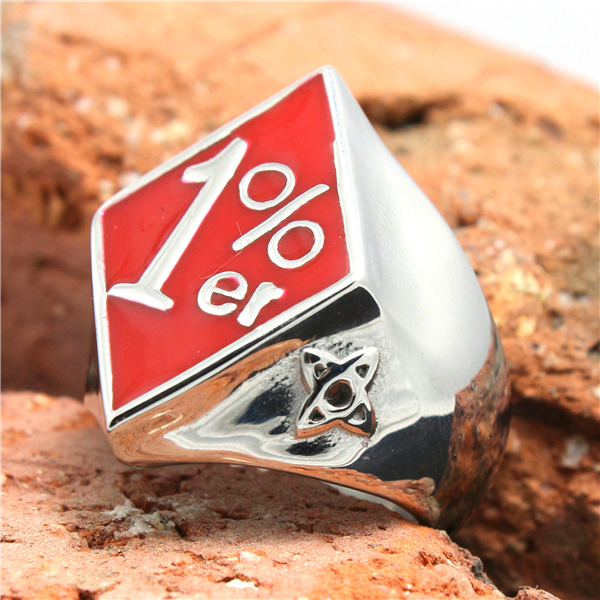 316L Stainless Steel Red Polishing Biker 1%er Ring Mens Motorcycle 1%er Biker Ring Cool ...