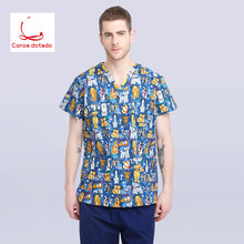 2019Veterinary Workwear Puppy Pattern Printing Surgical Gown Medical Professional Uniform Set Pet Hospital Doctor Nurse