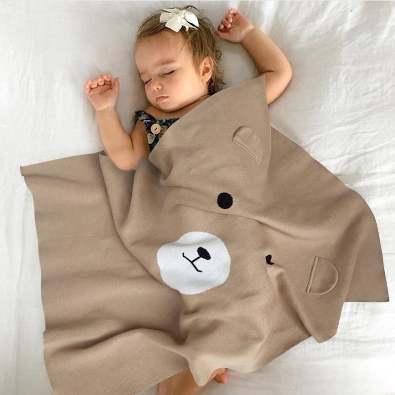 Newborn Blanket infantil swaddling cute bear chunky knit blanket ...