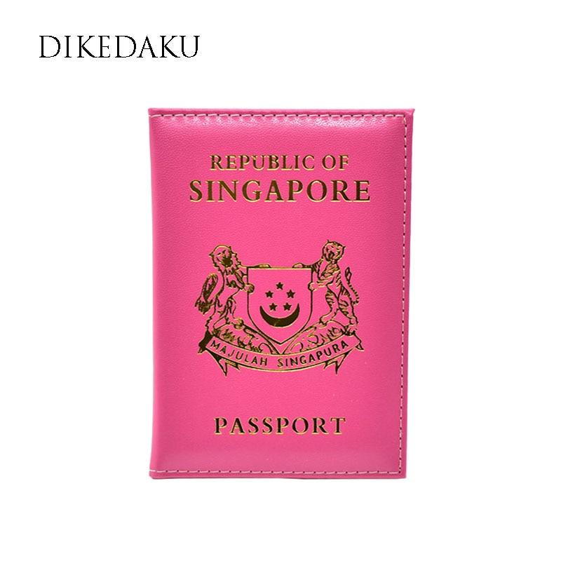 DIKEDAKU Multifunctional Singapore Women Passport Cover Pink Casual Pu Leather Passport Organizer Luxury Travel Passport Holder mxm fan meeting singapore