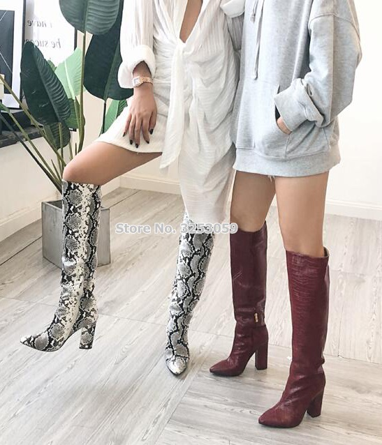 ALMUDENA Women Sexy Grey Snakeskin Chunky Heel Knee Boots Pointed Toe Python Pattern High Boots Printed Runway Dress Shoes in Knee High Boots from Shoes