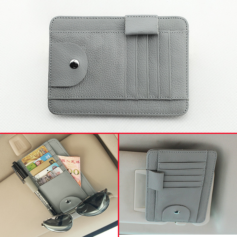 grey artificial leather car inner sun visor multi function