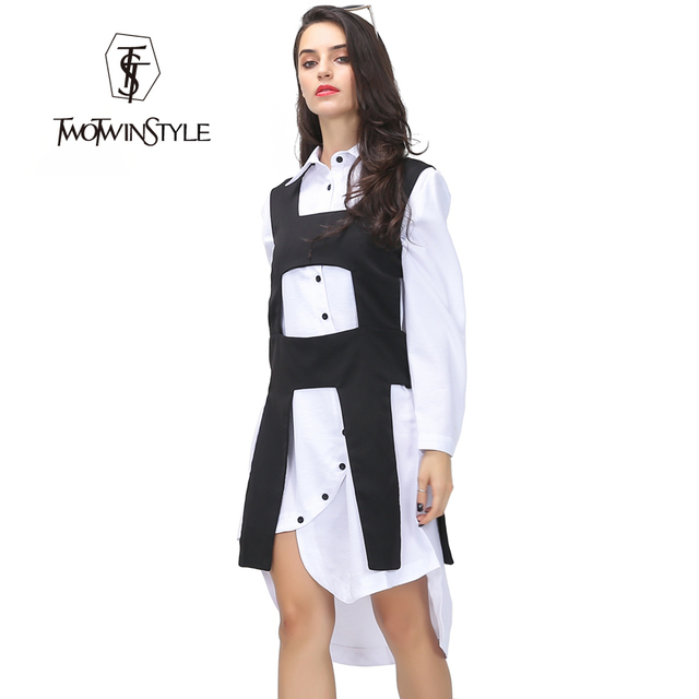 [TWOTWINSTYLE] 2017 Summer Double Fabric Stitching Square Hollow Out Modelling Vest Coat Women New Super