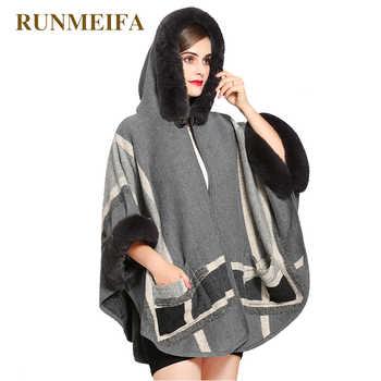 RUNMAIFA design high quality imitation fox fur winter scarf for women luxury brand warm Poncho scarf scarves striped shawl - DISCOUNT ITEM  5% OFF All Category