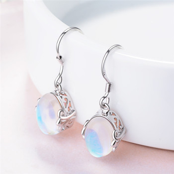 TJP New Fashion Moon Stone Female Drop Earrings Wome Jewelry Top Quality 925 Sterling Silver For Girl Lady Party Bijou