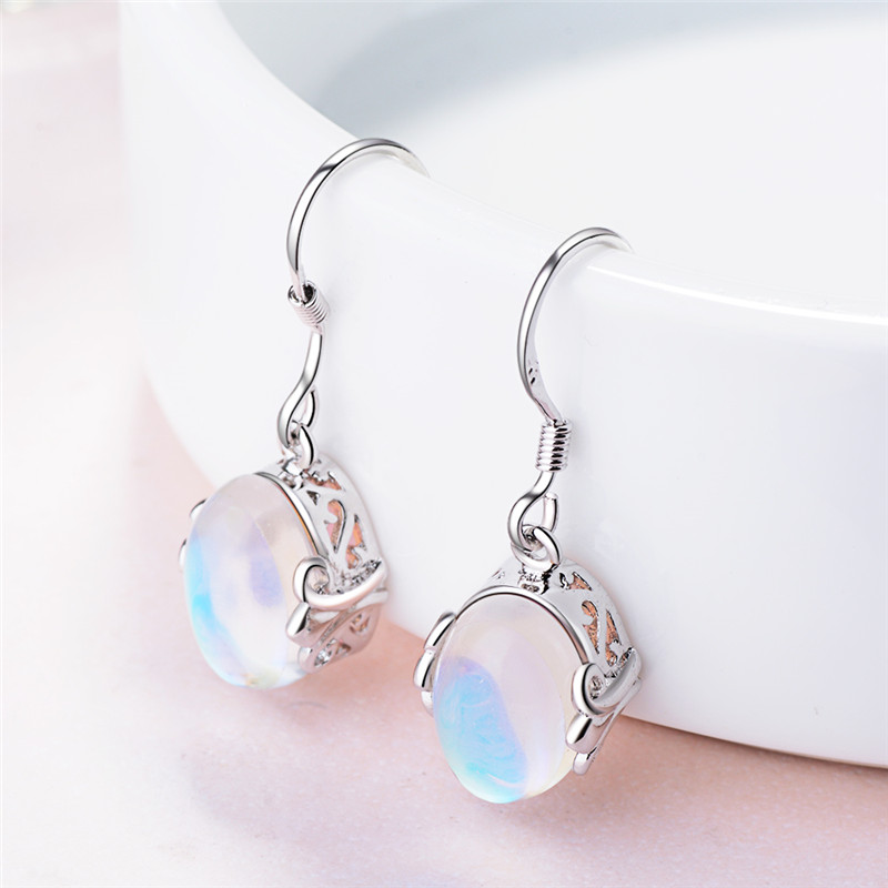 TJP New Fashion Moon Stone Female Drop Earrings Wome Jewelry Top Quality 925 Sterling Silver Earrings For Girl Lady Party Bijou