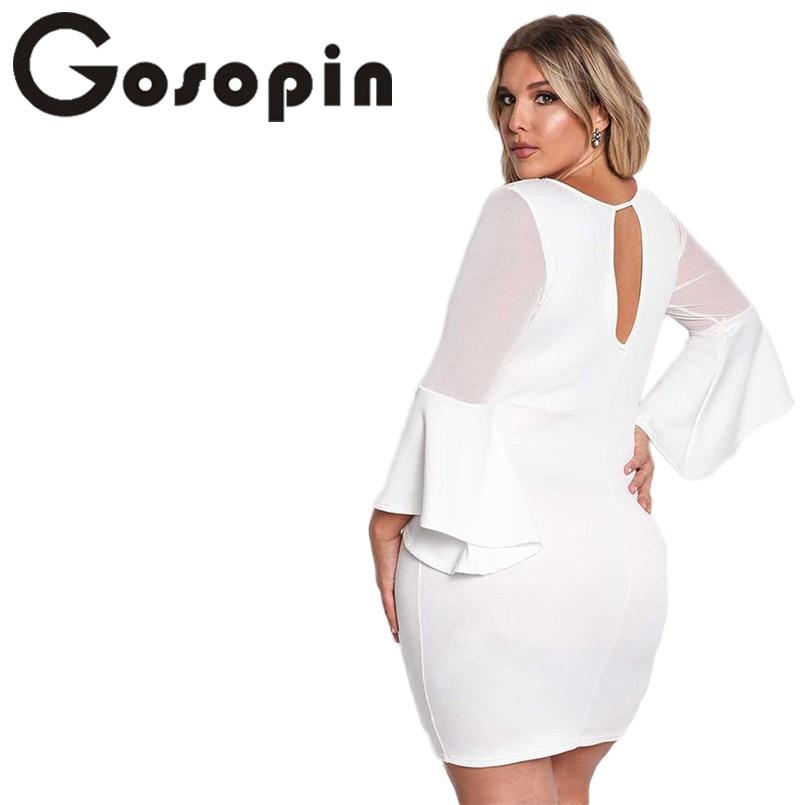 Gosopin Mini Sexy White Party Dresses for Plus Size Women Long ...