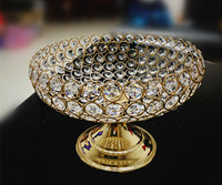 Wholesale Dimeter 25cm Crystal Bead Fruit tray plate bowl stand wedding centerpieces christmas decorations for home