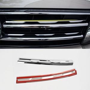 Image 5 - Chrome Front Mesh Grill Bumper Cover Voor Vw Tiguan Mk2 2016 2017 2020 Trim Insert Motorkap Garneer Molding Styling guard Protector