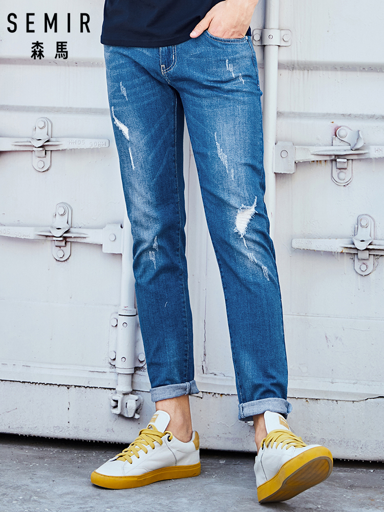 SEMIR 2019 Summer New Men Elastic Cotton Stretch Jeans Pants Loose Fit Denim Trousers Men's Brand Fashion Jeans