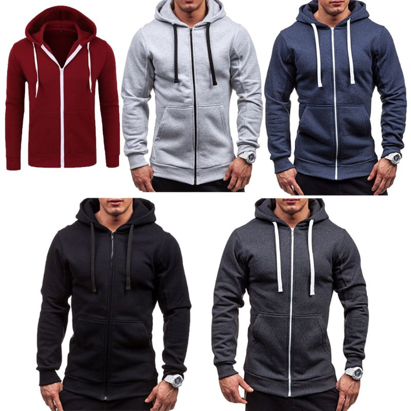 Hoodies & Sweatshirts Buy Cheap Plus Size Mens Winter Slim Hoodies Casual Zipper Sweatshirt Slim Winter Warm Long Sleeve Coat Jacket Outwear Tracksuits Male