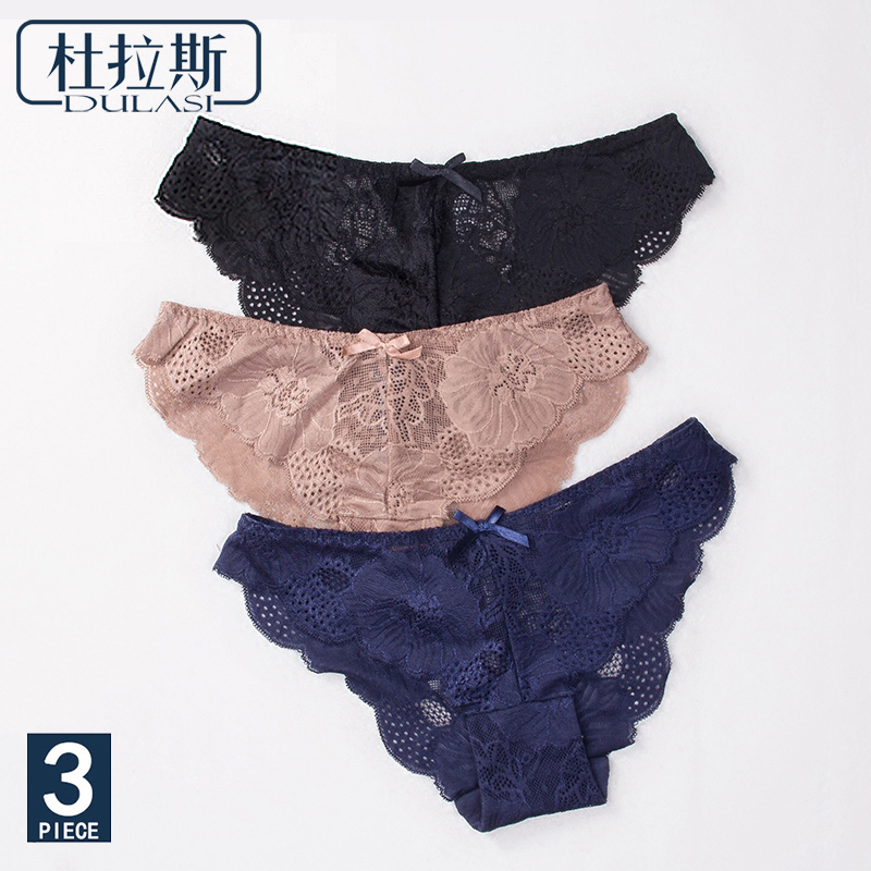 DULASI Sexy Lace Seamless   Panties   For Women Underwear Low Waist Cotton Crotch Floral Briefs Women Transparent Breathable   Panty
