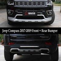 Jioyng fit for jeep compass 2017-2019 프론트 + 리어 범퍼 디퓨저 범퍼 립 프로텍터 가드 스키드 플레이트 abs 2 pcs