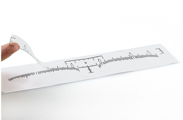 100pcs Disposable Semi Permanent Eyebrow Ruler, Microblading Calliper Stencil Makeup Eye Brow Measure Tool Eyebrow Guide Ruler 5