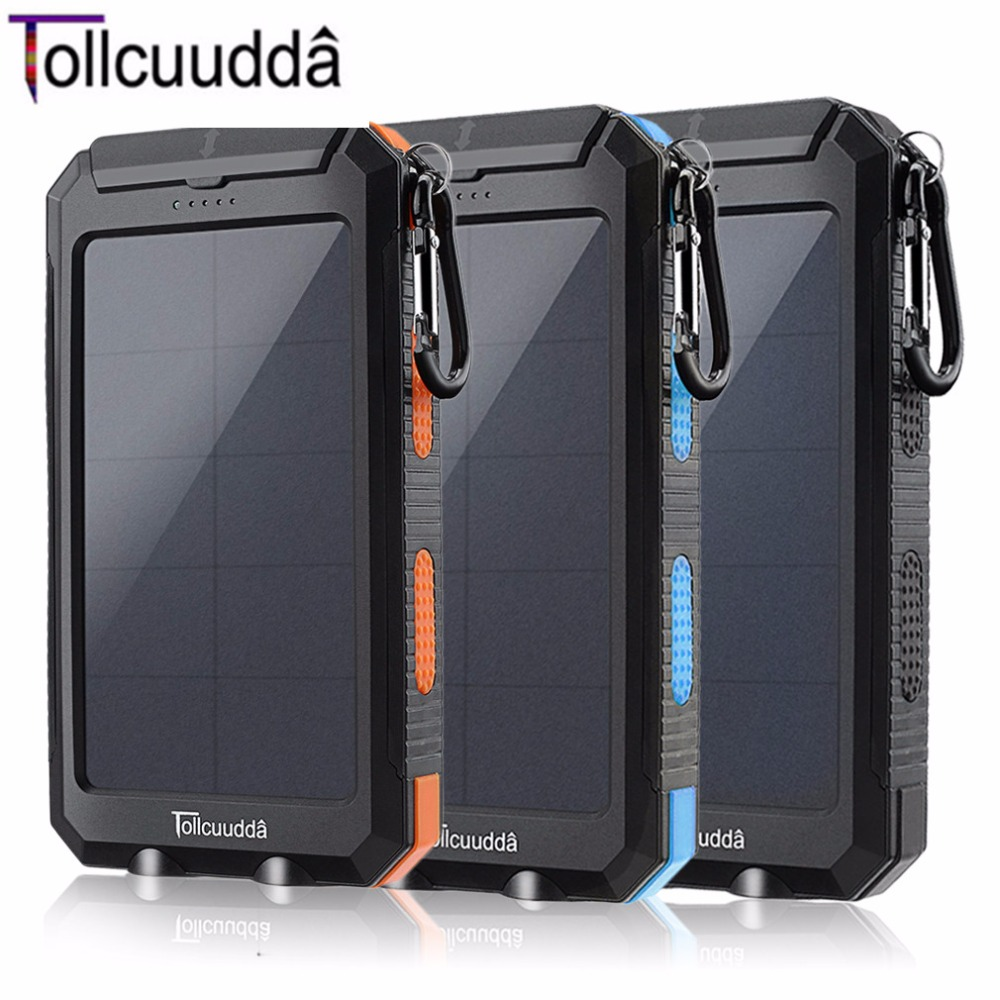 Tollcuudda DYFS01 Waterproof 10000mAH Double USB Power Bank For Smart Phone Convenient Portable Battery Super Bright