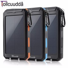 Tollcuudda DYFS01 Waterproof 10000mAH Double USB Power Bank For Smart Phone Convenient Portable Battery Super Bright LED Light