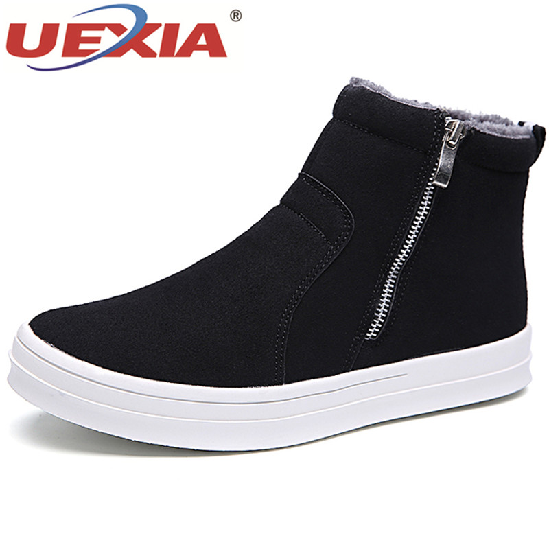цены UEXIA Winter Warm Outdoor Shoes Man Ankle Boot Men Autumn Cotton Fabric Man Snow Shoes Zapatos Hombre Botas Hombre Snow Boots