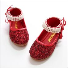 qloblo Children Princess Glitter Sandals Kids Girls Wedding Shoes Square  Heels Dress Shoes Party Shoes Red 54f7db16ff32
