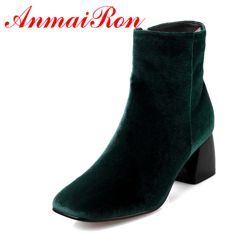 ANMAIRON Winter High Heels Ankle Boots Women Nubuck Charms Shoes Woman Sexy Red Boots Med Heels Square Toe Boots Size 34-43 ...