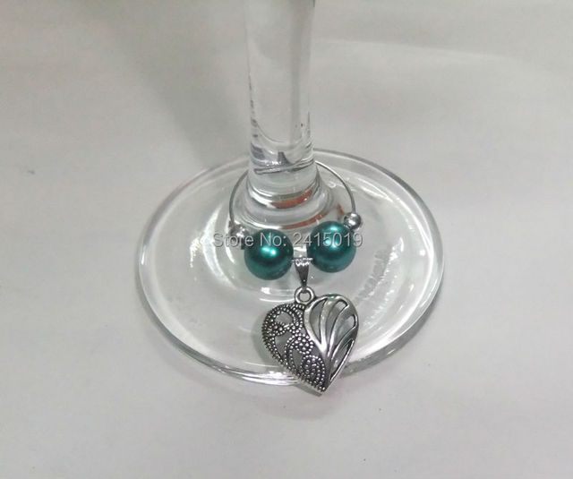 Freeship 24x mixed bead colors heart pattern party wine glass charms ...