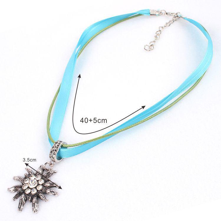Wholesale Crystal Ethnic Style Bavarian Germany CZ Rhinestone Oktoberfest Edelweiss Necklace for Dirndl Lederhose Jewelry