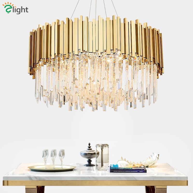 Living Room Luxury Gold Steel Round Lustre K9 Crystal Led Pendant Lights Luminaria Hanging Lamp Indoor Lighting Lamparas Fixture