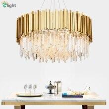 Роскошный Золотой металлический круглый блеск для гостиной K9, хрустальные светодиодные подвесные светильники, подвесной светильник, светильник для внутреннего освещения