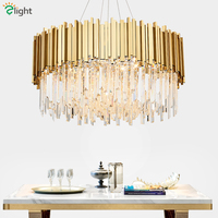 Living Room Luxury Gold Metal Round Lustre K9 Crystal Led Pendant Lights Luminaria Hanging Lamp Indoor Lighting Lamparas Fixture