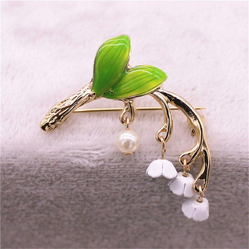 Новый сладкий свежий и прекрасный зеленый эмаль брошь Лилия Орхидея бутоньерка булавка подарок к празднику