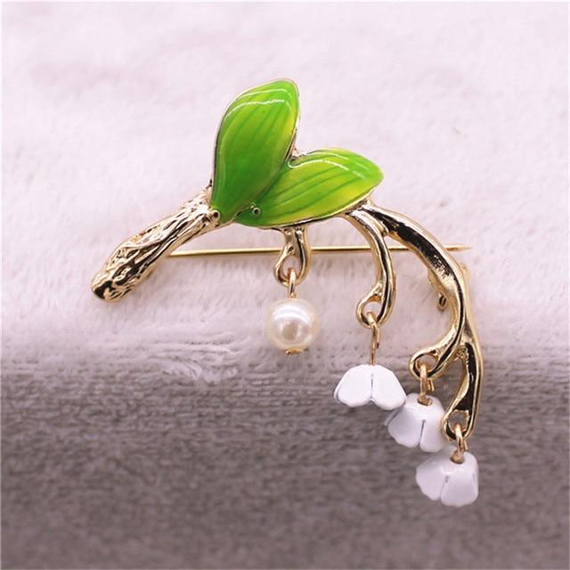 Nuovo dolce fresca e bella verde Dello Smalto spilla giglio orchidea Boutonniere pin regalo di festa