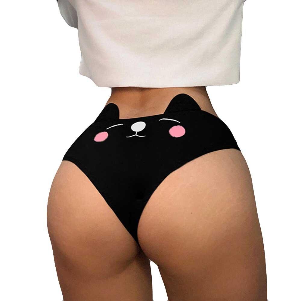 Women Funny Cat Ear Lingerie Femme G-string Briefs Underwear Short Panties T String Thongs Knickers Culotte Taille Basse @35