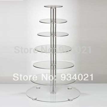 Free Shipping 7 Tier Clear Acrylic Wedding Cake Stands Acrylic Cup Cake Holder wedding decoration